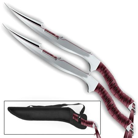 Lot de 2 épées machettes full tang - Zombie machette épée