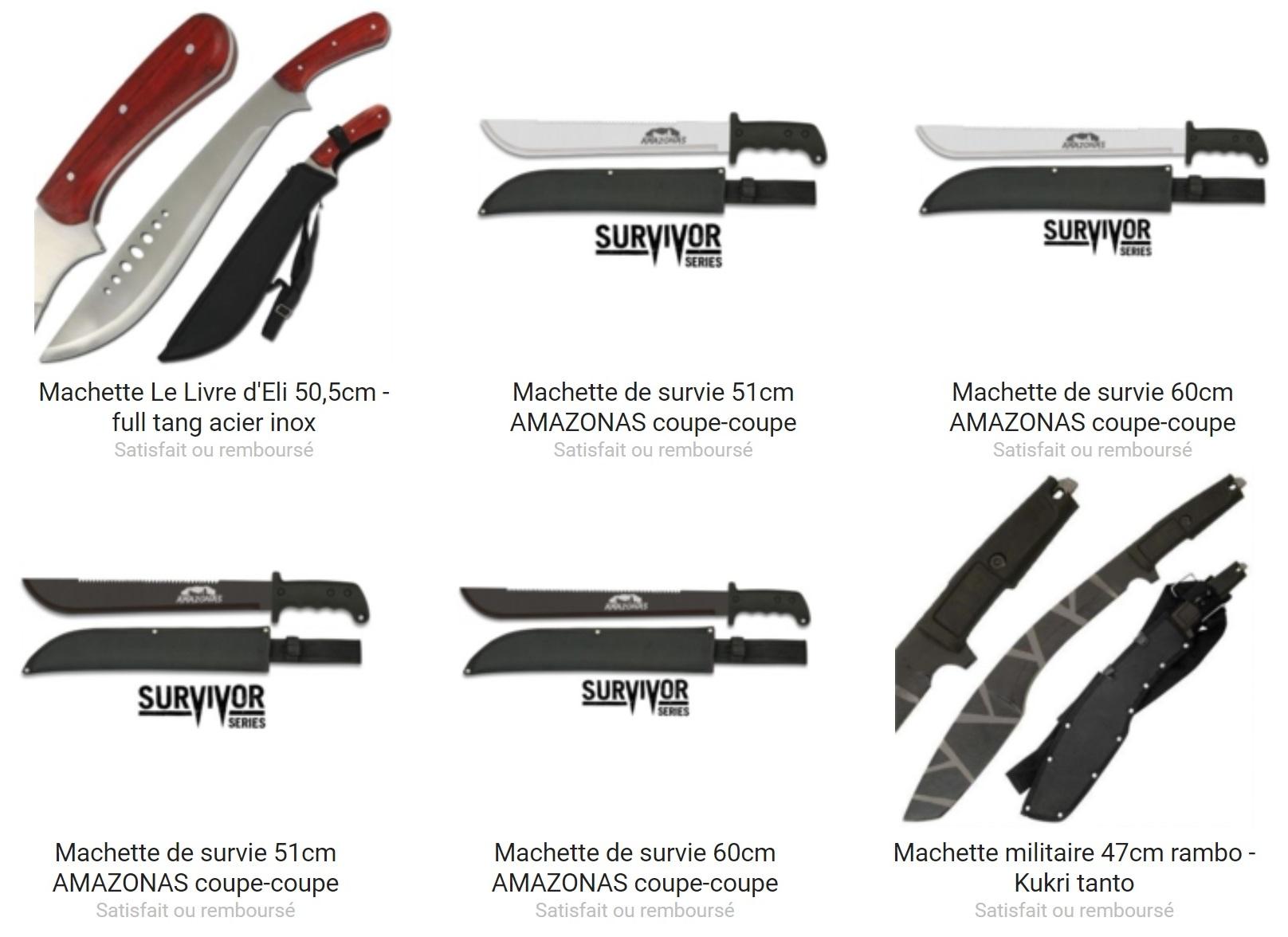 Une grande sélection de machette est en vente sur le site Couteau Azur !