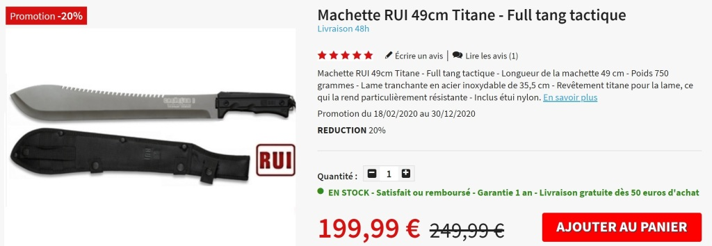 Machette Titane Full tang RUI
