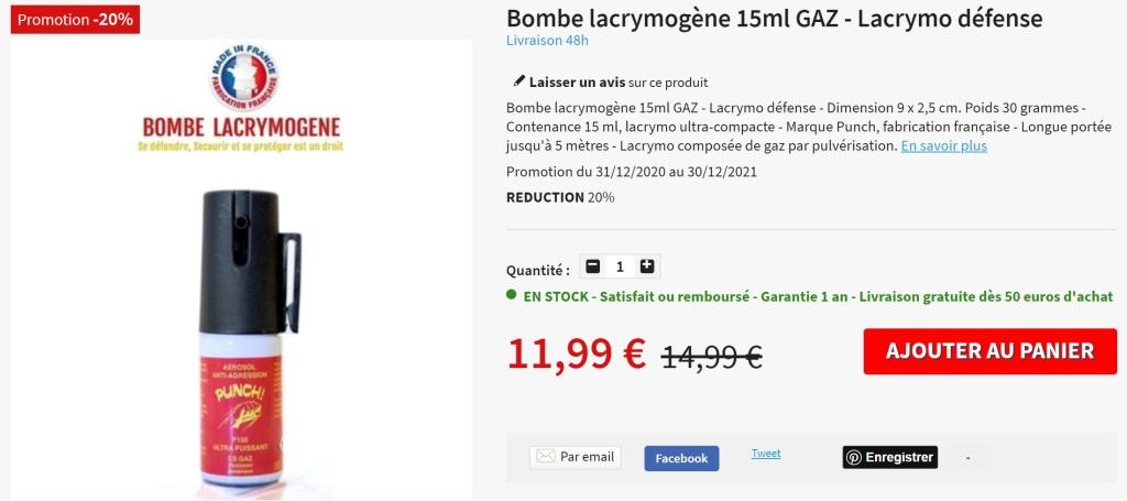 Bombe lacrymo lacrymogène GAZ 15ml de défense